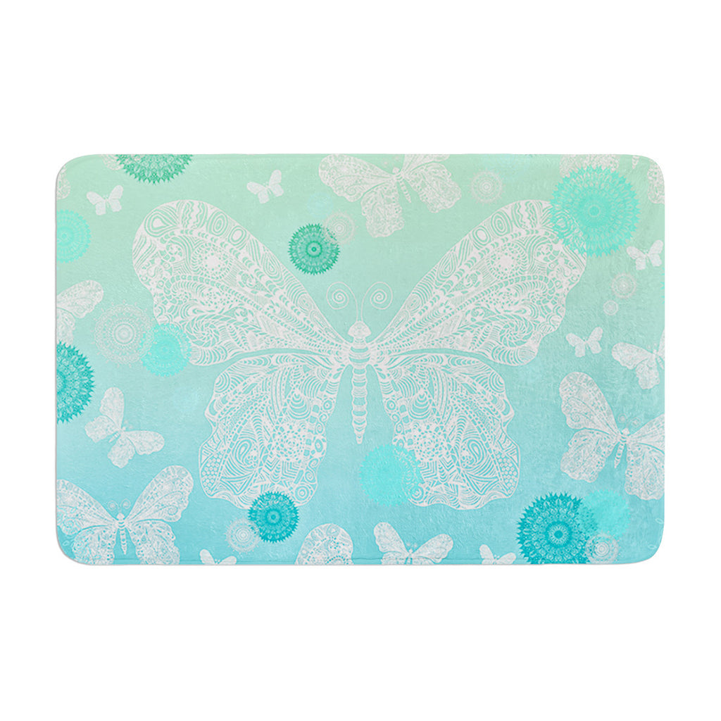 "Monika Strigel ""Butterfly Dreams Mint"" Aqua Teal Memory Foam Bath Mat - KESS InHouse"