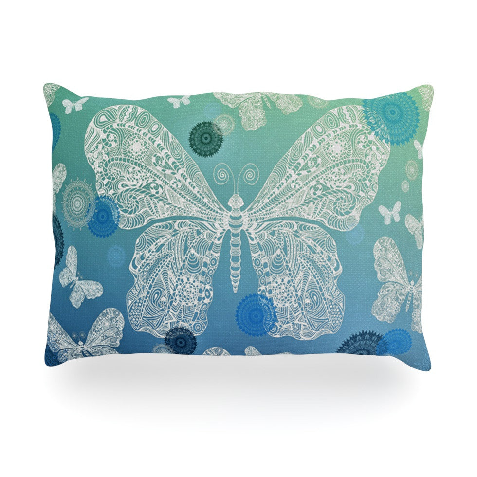 "Monika Strigel ""Butterfly Dreams Ocean"" Blue Green Oblong Pillow - KESS InHouse"