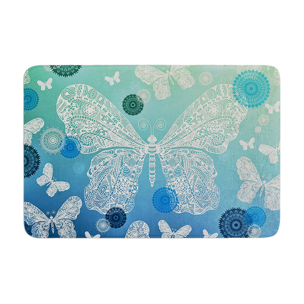 "Monika Strigel ""Butterfly Dreams Ocean"" Blue Green Memory Foam Bath Mat - KESS InHouse"