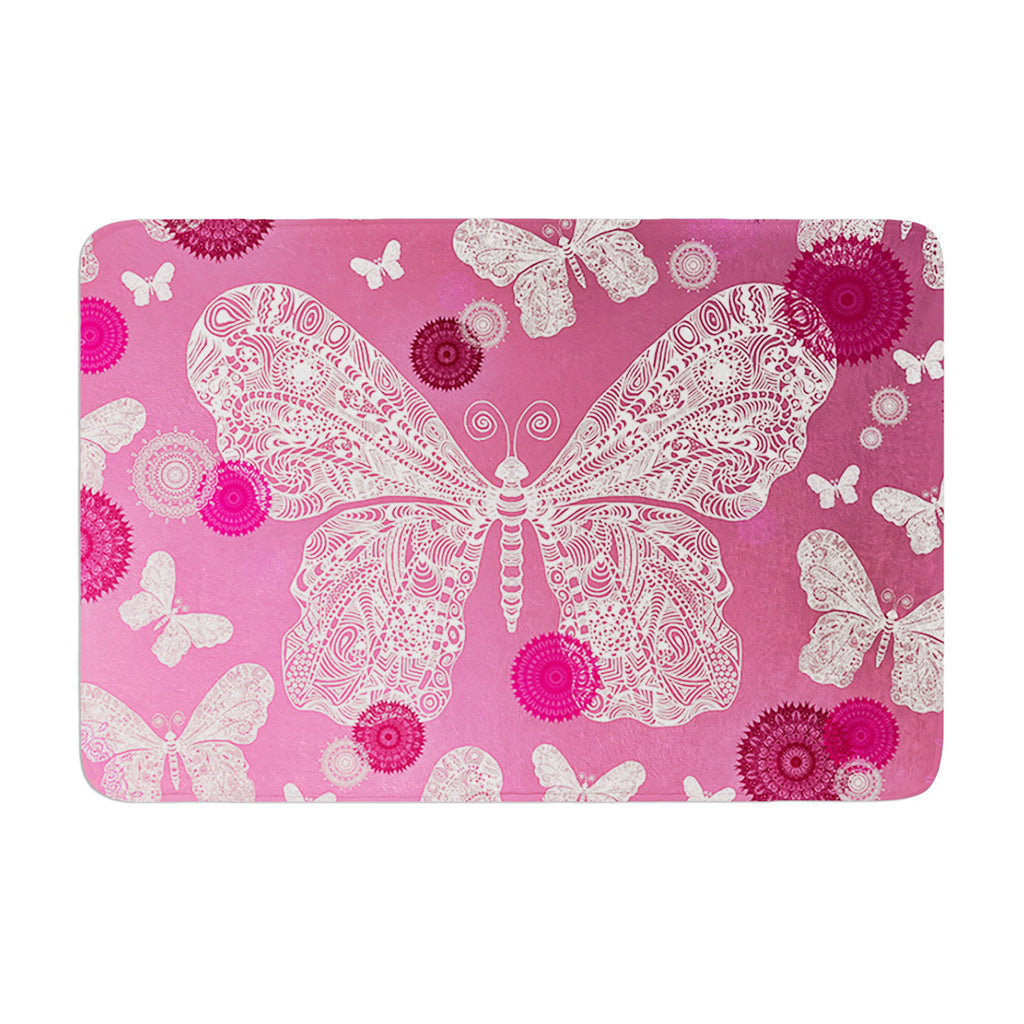 "Monika Strigel ""Butterfly Dreams Pink Ombre"" Magenta Memory Foam Bath Mat - KESS InHouse"