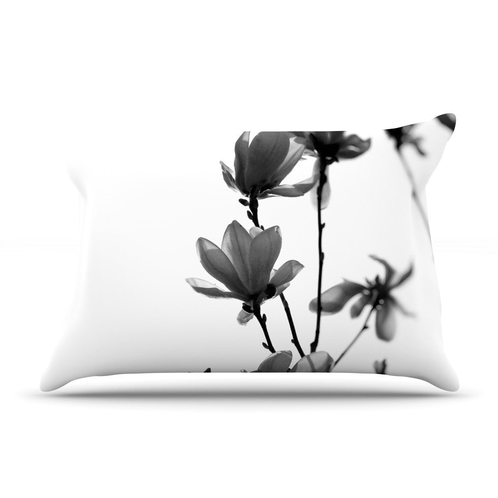 "Monika Strigel ""Mulan Magnolia"" White Gray Pillow Sham - KESS InHouse"