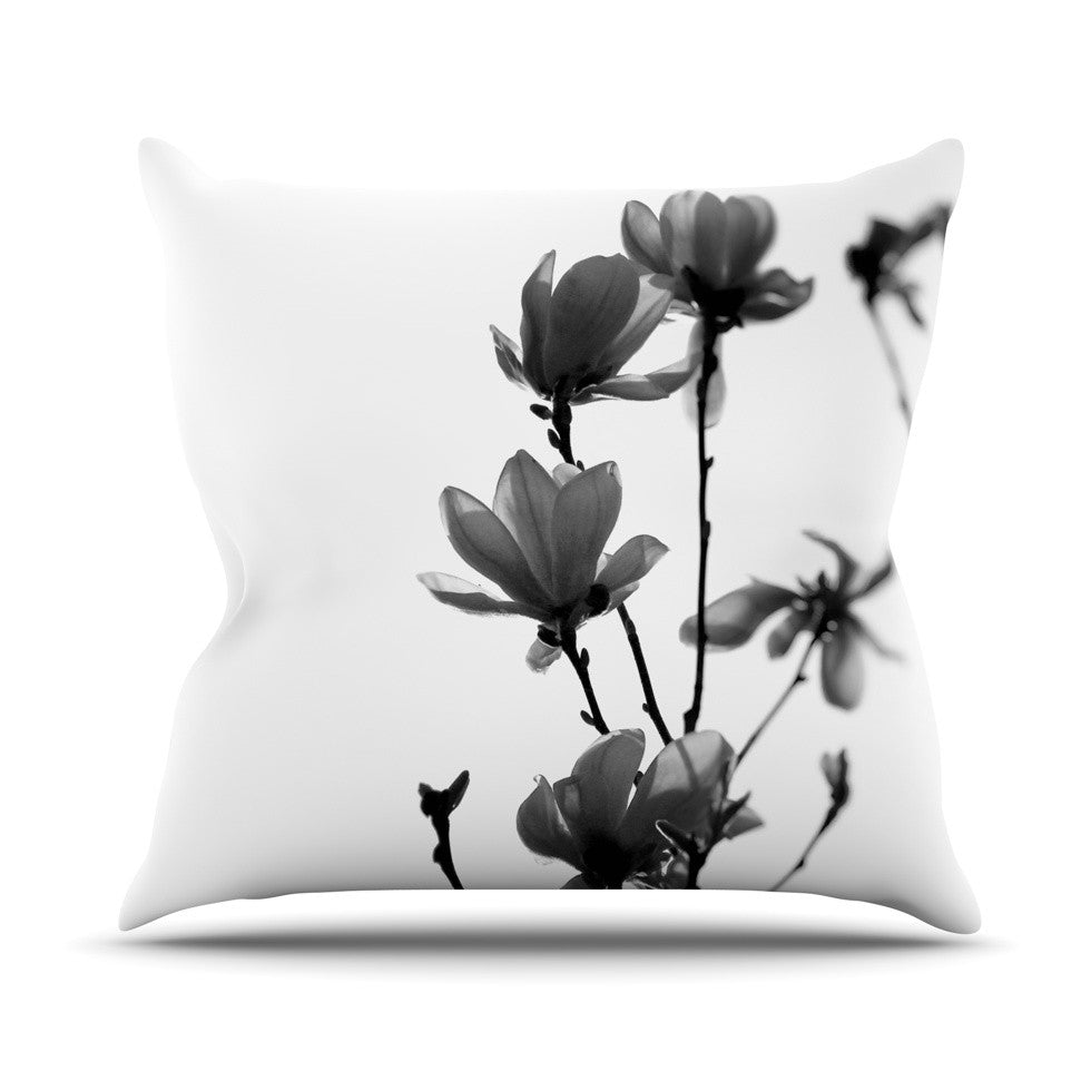 "Monika Strigel ""Mulan Magnolia"" White Gray Throw Pillow - KESS InHouse  - 1"
