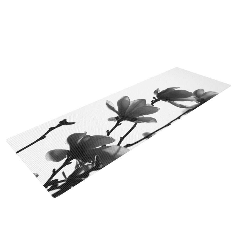 "Monika Strigel ""Mulan Magnolia"" White Gray Yoga Mat - KESS InHouse  - 1"