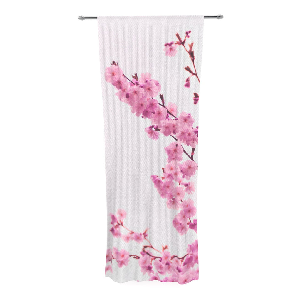 "Monika Strigel ""Cherry Sakura"" Pink Floral Decorative Sheer Curtain - KESS InHouse  - 1"