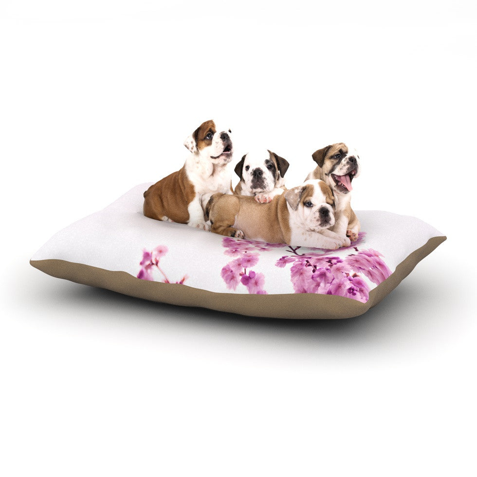 "Monika Strigel ""Cherry Sakura"" Pink Floral Dog Bed - KESS InHouse  - 1"
