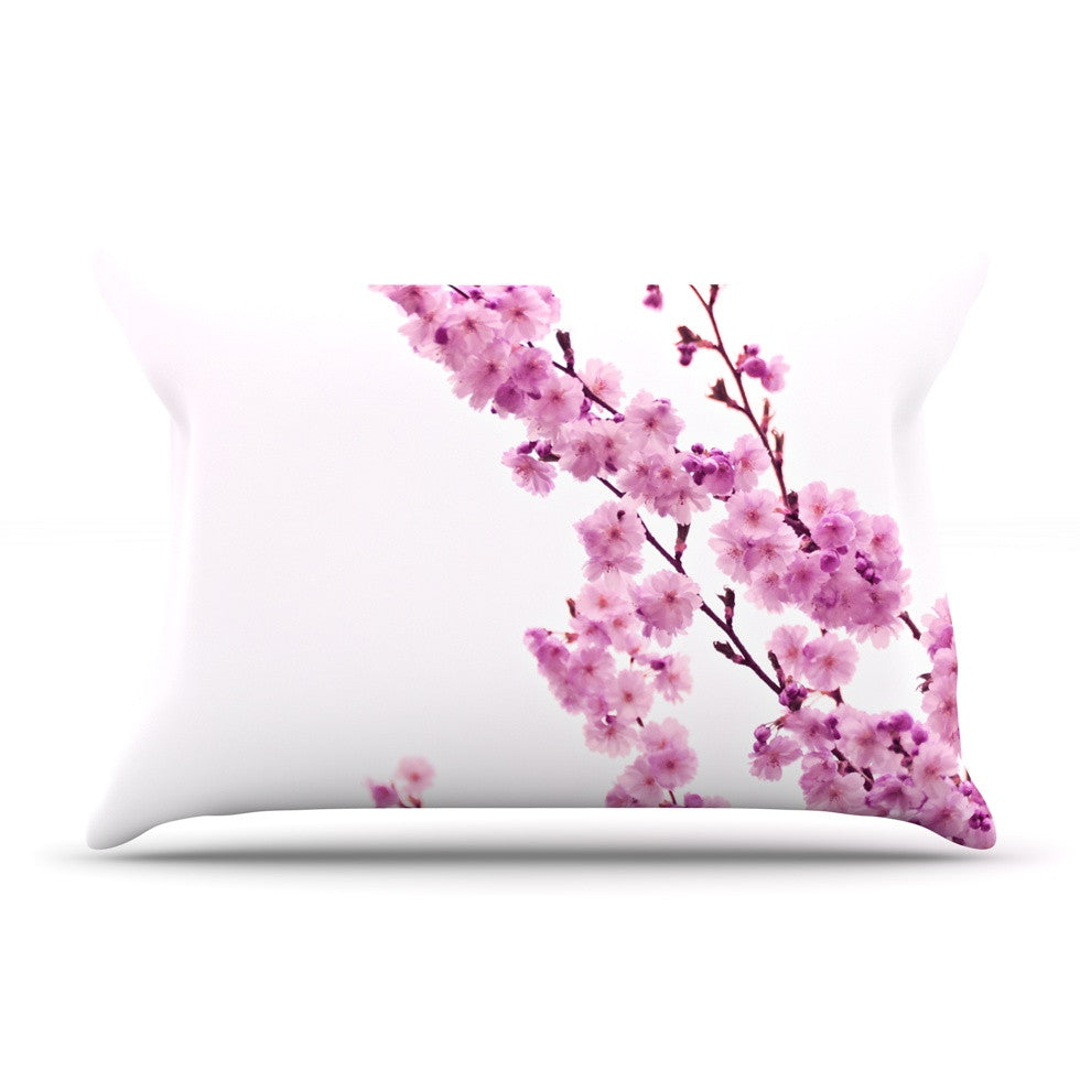 "Monika Strigel ""Cherry Sakura"" Pink Floral Pillow Sham - KESS InHouse"