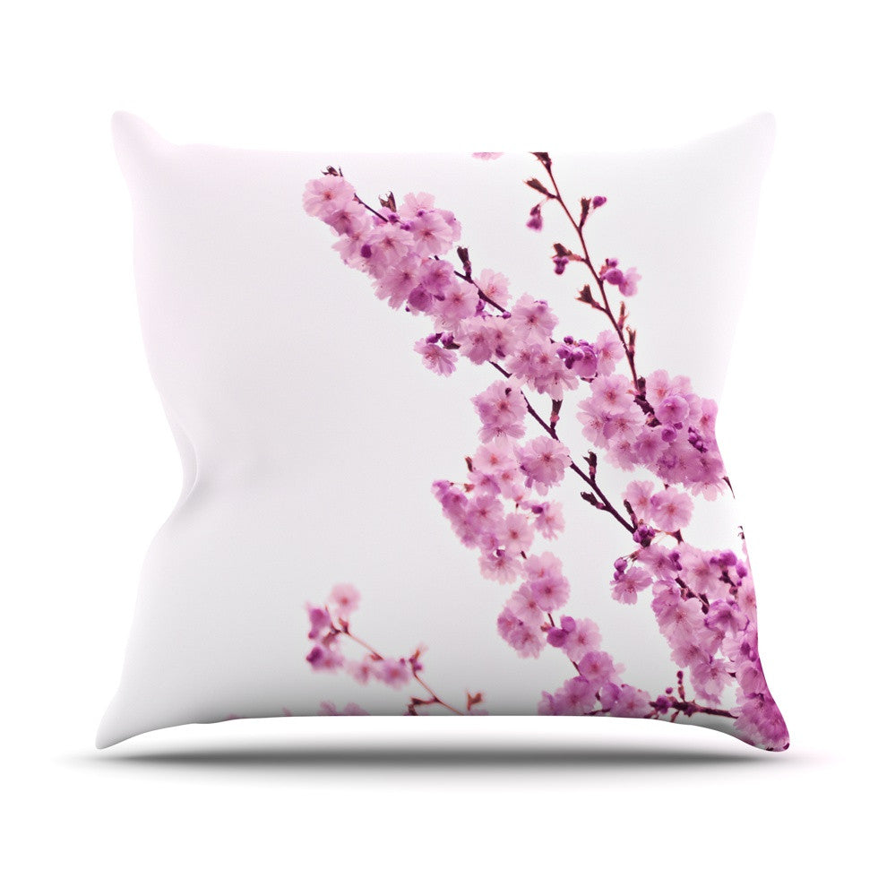 "Monika Strigel ""Cherry Sakura"" Pink Floral Outdoor Throw Pillow - KESS InHouse  - 1"