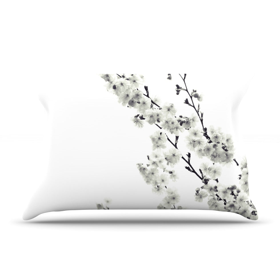 "Monika Strigel ""Cherry Sakura White"" Floral Nature Pillow Sham - KESS InHouse"