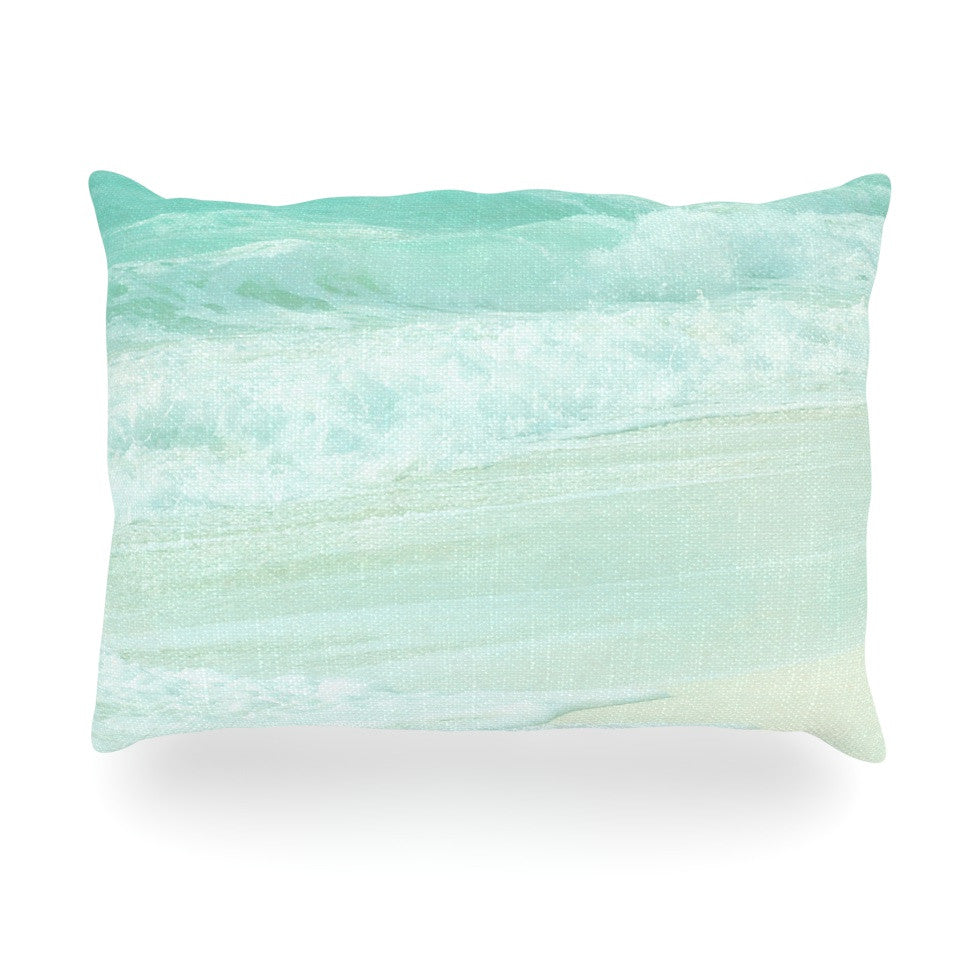 "Monika Strigel ""Paradise Beach Mint"" Teal Green Oblong Pillow - KESS InHouse"
