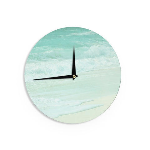 "Monika Strigel ""Paradise Beach Mint"" Teal Green Wall Clock - Outlet Item"