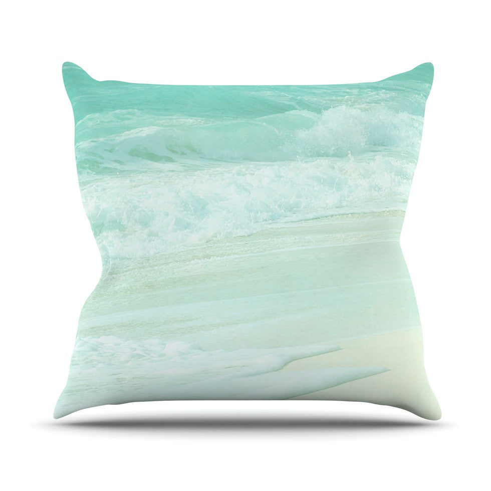 "Monika Strigel ""Paradise Beach Mint"" Teal Green Outdoor Throw Pillow - KESS InHouse  - 1"