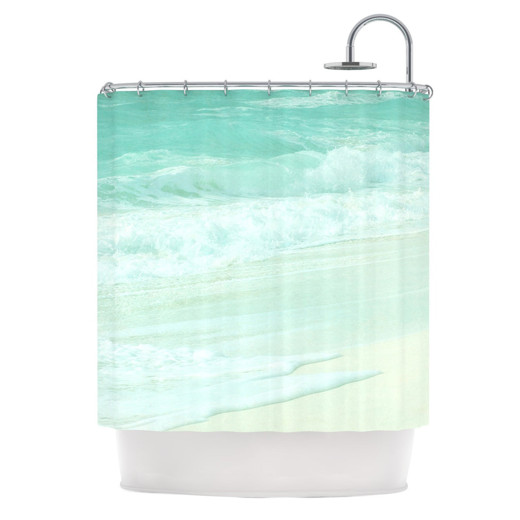 "Monika Strigel ""Paradise Beach Mint"" Teal Green Shower Curtain - KESS InHouse"