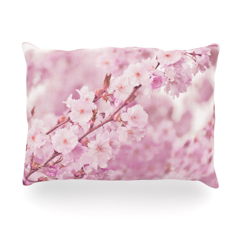 "Monika Strigel ""Endless Cherry"" Pink Floral Oblong Pillow - KESS InHouse"