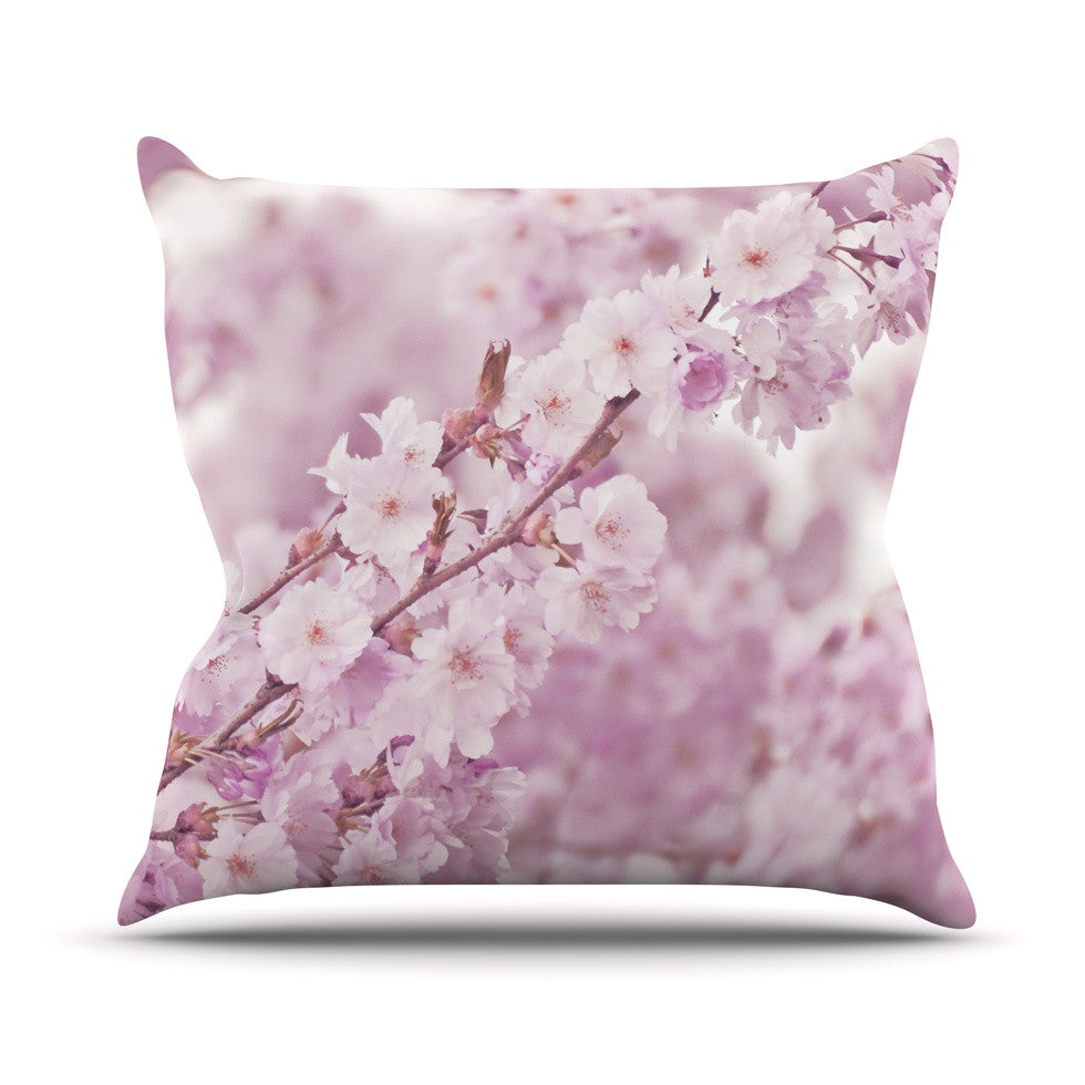 "Monika Strigel ""Endless Cherry"" Pink Floral Outdoor Throw Pillow - KESS InHouse  - 1"