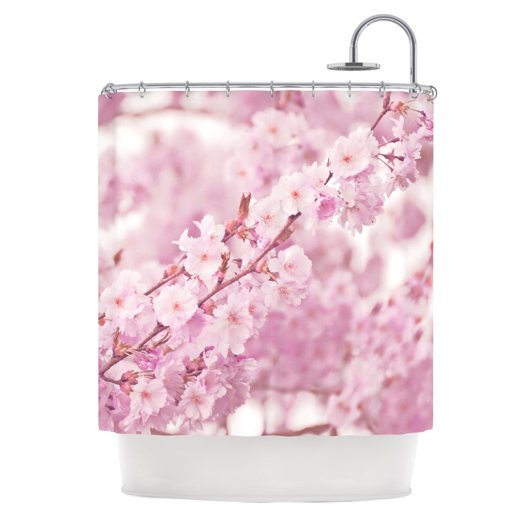 "Monika Strigel ""Endless Cherry"" Pink Floral Shower Curtain - KESS InHouse"