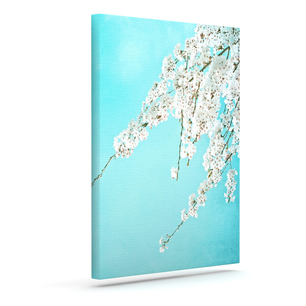 "Monika Strigel ""Hanami"" Teal White Canvas Art - KESS InHouse  - 1"