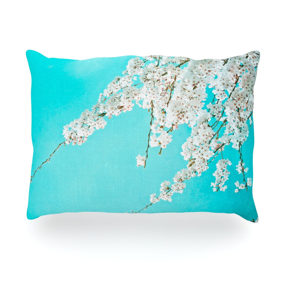 "Monika Strigel ""Hanami"" Teal White Oblong Pillow - KESS InHouse"