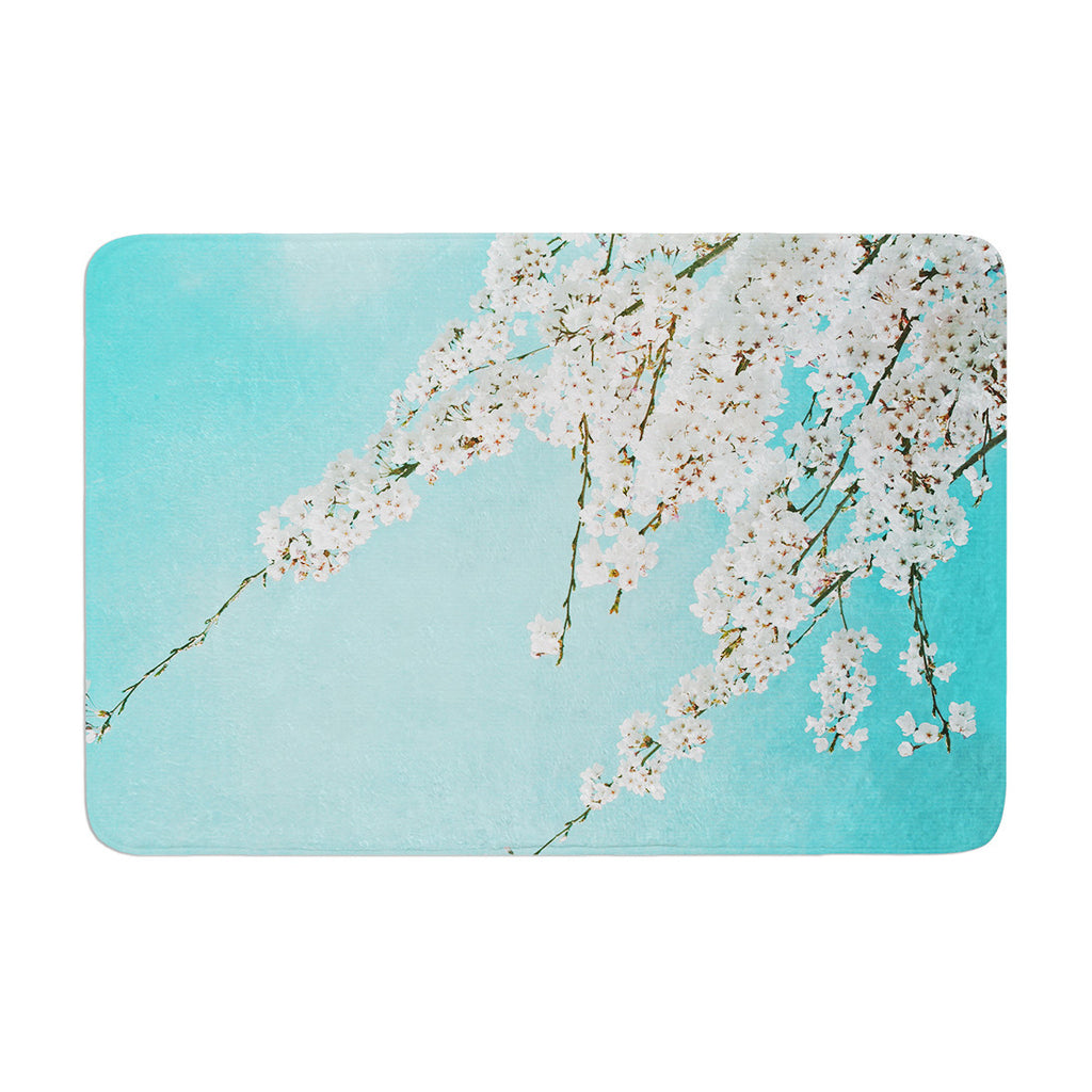 "Monika Strigel ""Hanami"" Teal White Memory Foam Bath Mat - KESS InHouse"