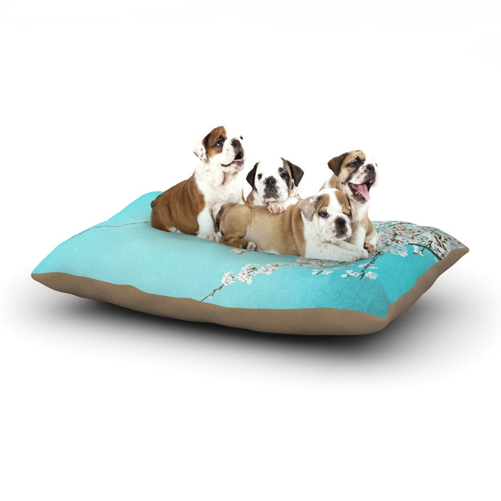 "Monika Strigel ""Hanami"" Teal White Dog Bed - KESS InHouse  - 1"