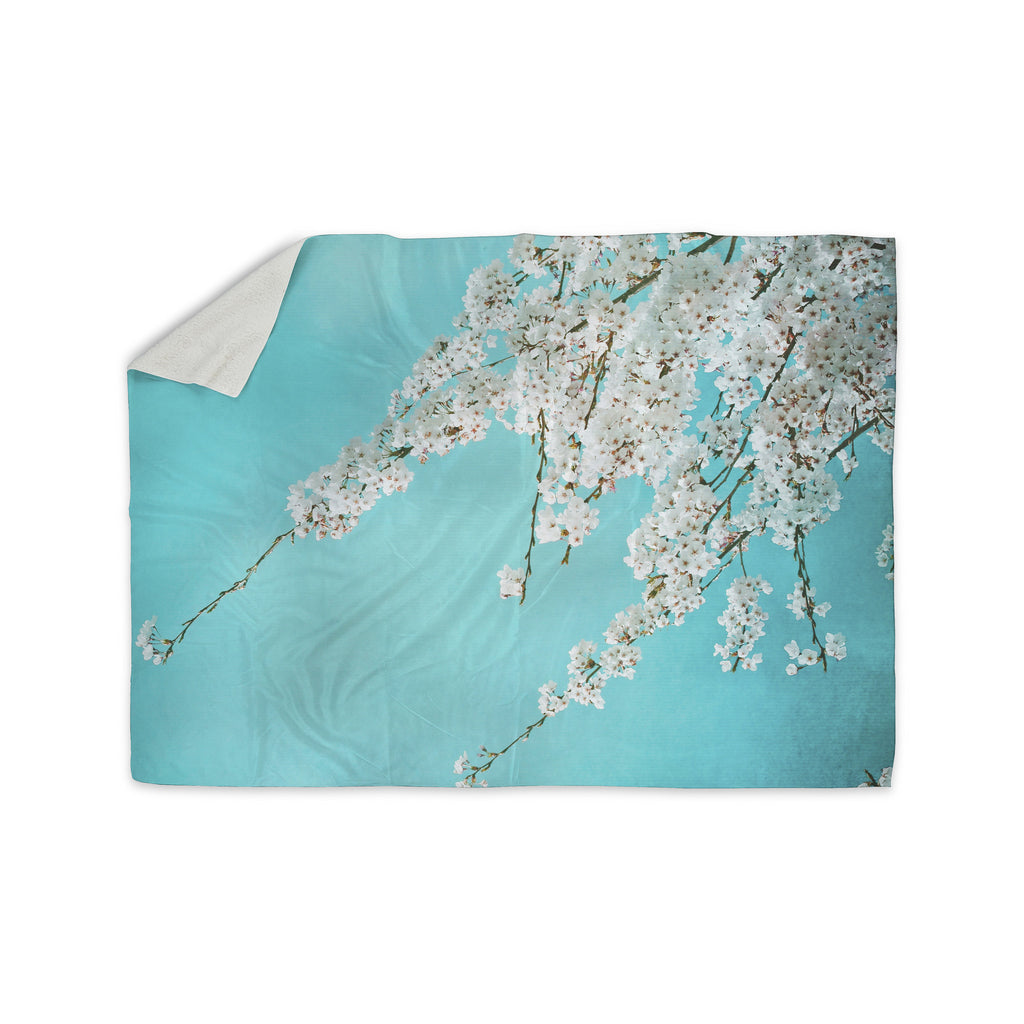 "Monika Strigel ""Hanami"" Teal White Sherpa Blanket - KESS InHouse  - 1"
