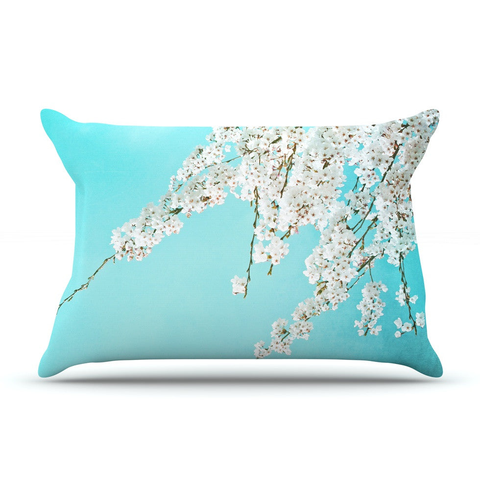 "Monika Strigel ""Hanami"" Teal White Pillow Sham - KESS InHouse"