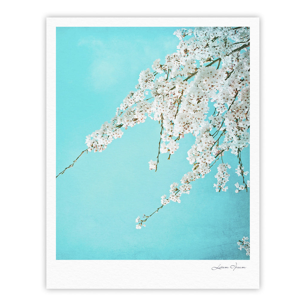 "Monika Strigel ""Hanami"" Teal White Fine Art Gallery Print - KESS InHouse"