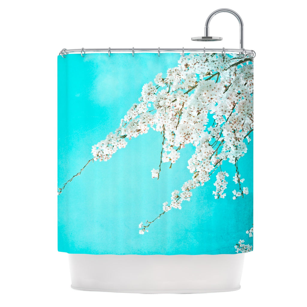 "Monika Strigel ""Hanami"" Teal White Shower Curtain - KESS InHouse"