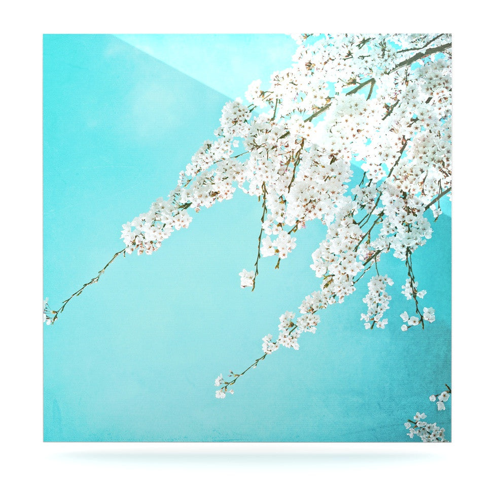 "Monika Strigel ""Hanami"" Teal White Luxe Square Panel - KESS InHouse  - 1"