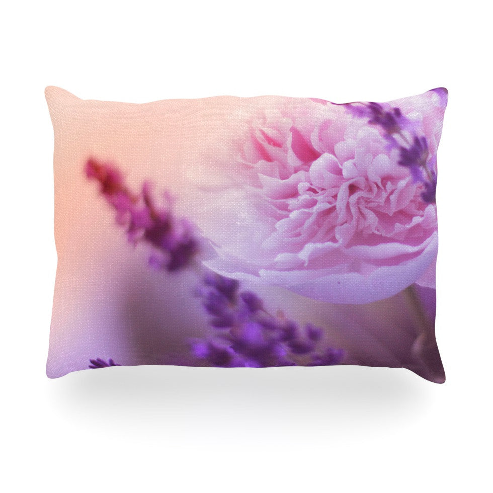 "Monika Strigel ""Peony and Lavender"" Pink Purple Oblong Pillow - KESS InHouse"