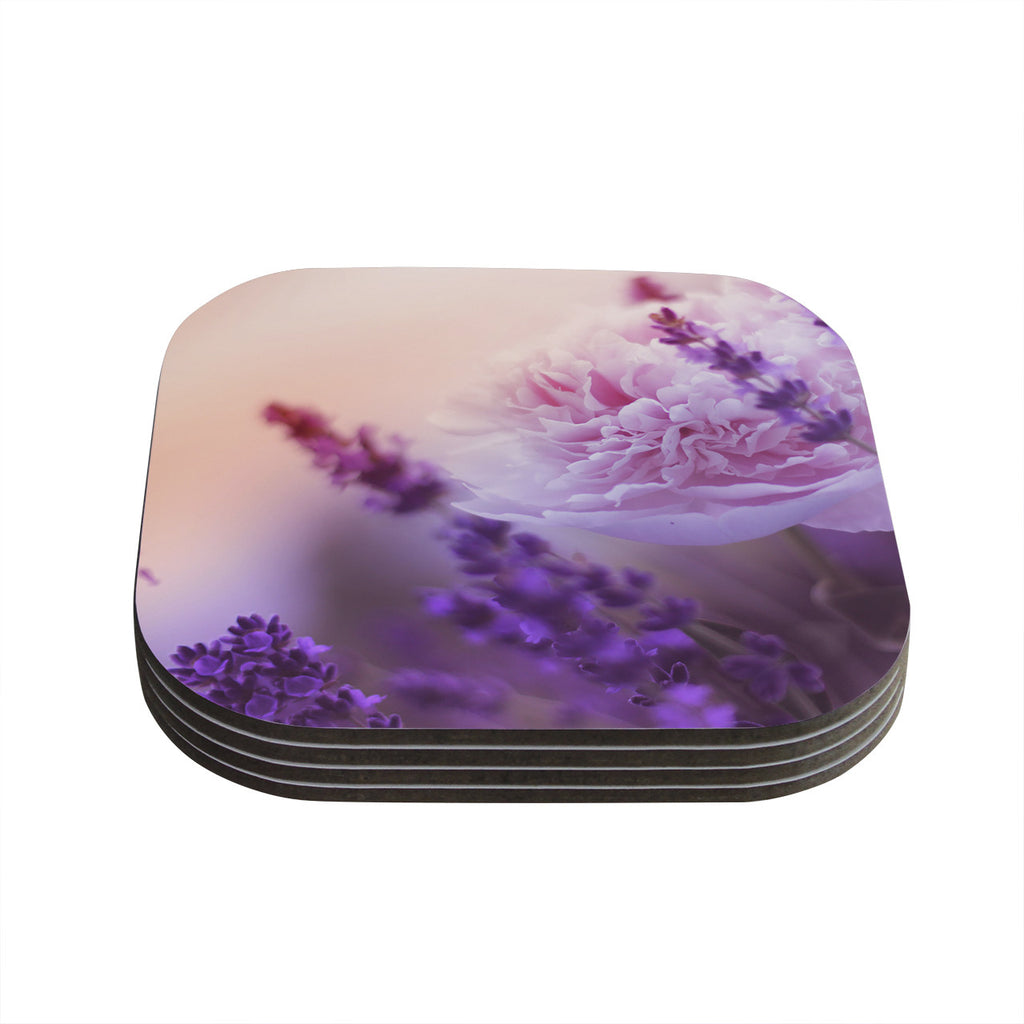 "Monika Strigel ""Peony and Lavender"" Pink Purple Coasters (Set of 4)"