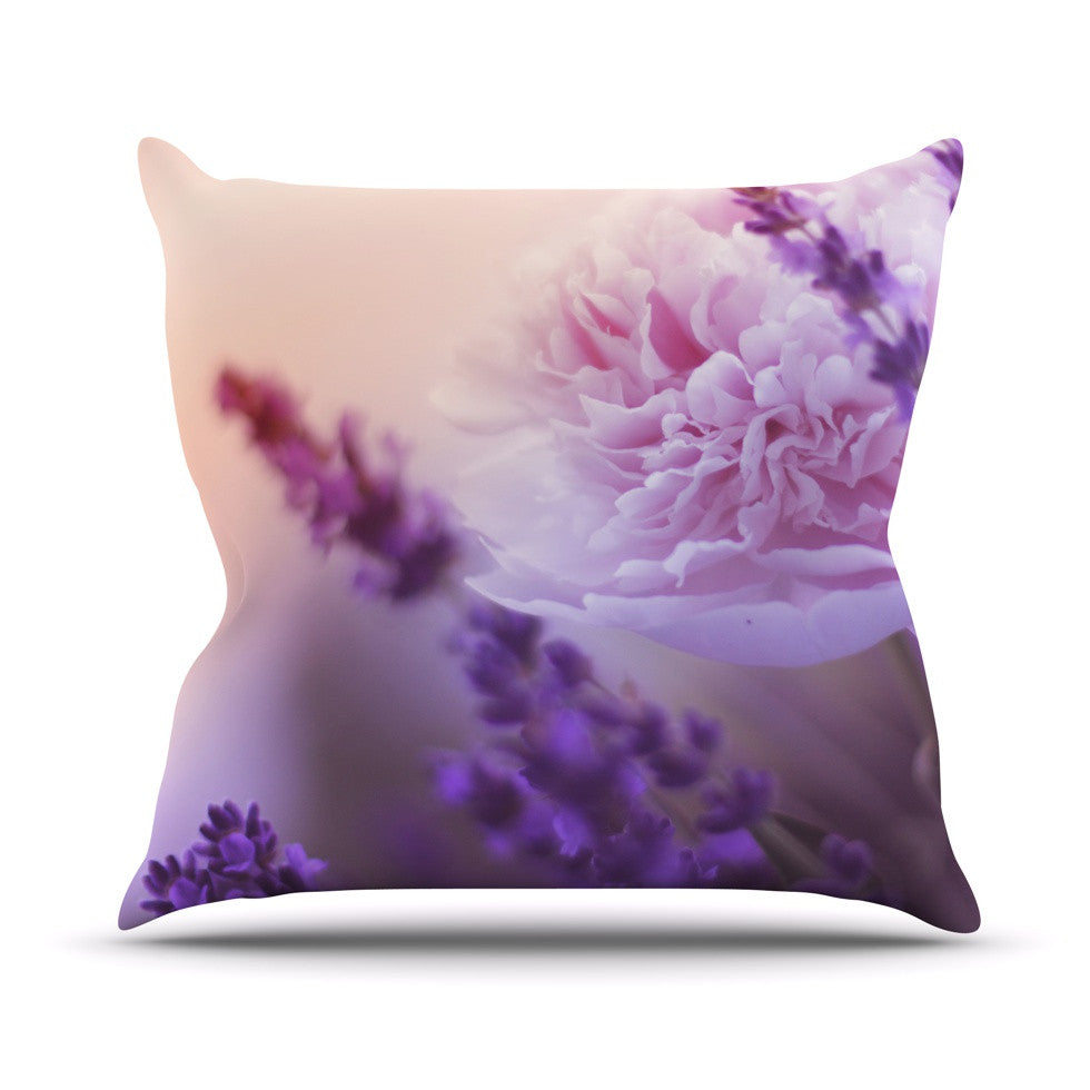 "Monika Strigel ""Peony and Lavender"" Pink Purple Outdoor Throw Pillow - KESS InHouse  - 1"