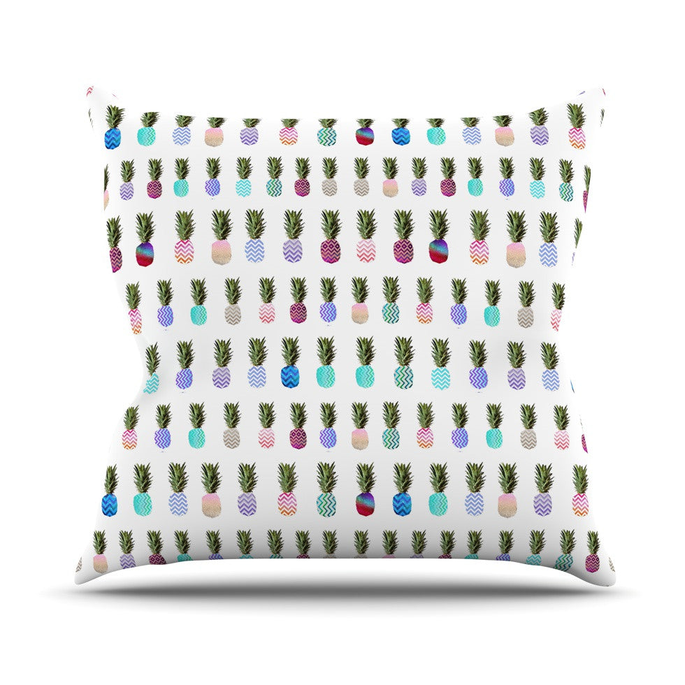 "Monika Strigel ""Pineapple People"" White Multicolor Outdoor Throw Pillow - KESS InHouse  - 1"