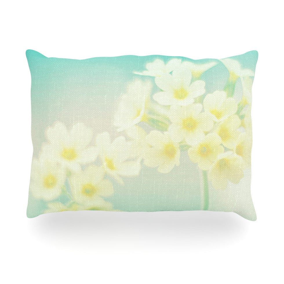 "Monika Strigel ""Happy Spring"" Yellow Teal Oblong Pillow - KESS InHouse"
