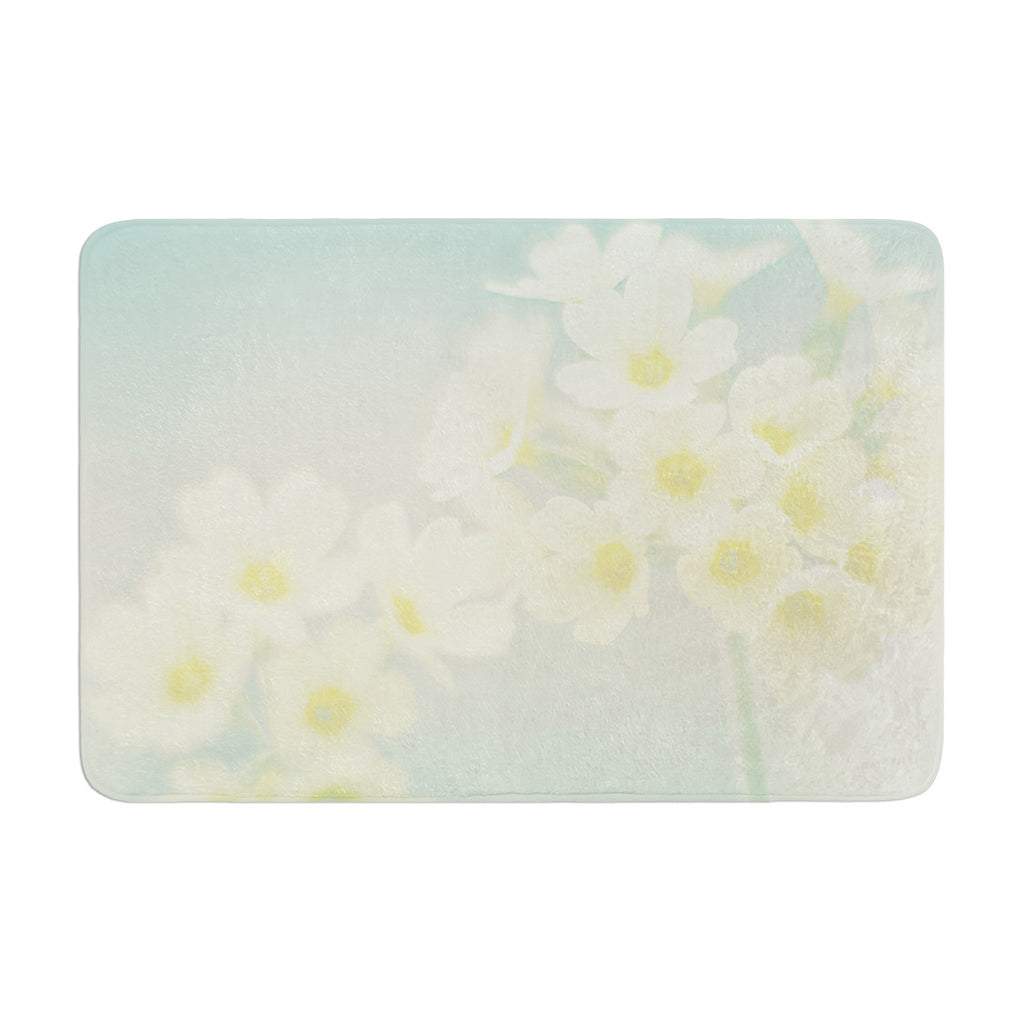 "Monika Strigel ""Happy Spring"" Yellow Teal Memory Foam Bath Mat - KESS InHouse"