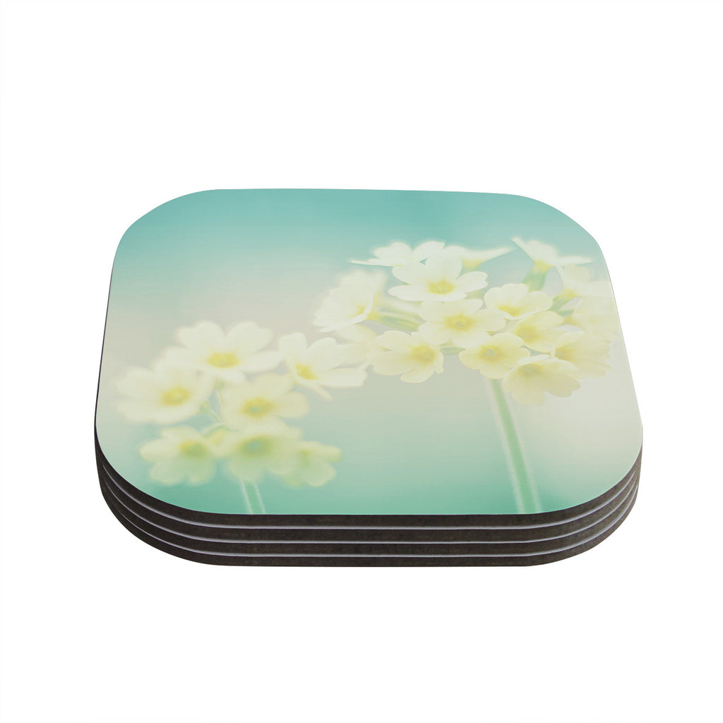 "Monika Strigel ""Happy Spring"" Yellow Teal Coasters (Set of 4)"