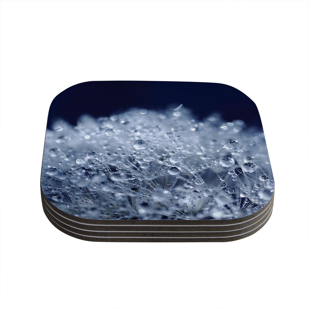 "Monika Strigel ""Dandelion Diamonds"" Navy Blue Coasters (Set of 4)"