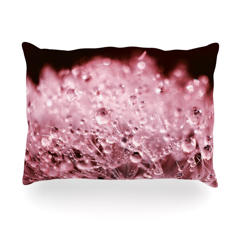 "Monika Strigel ""Marsala Dandelion Diamonds"" Red Pink Oblong Pillow - KESS InHouse"