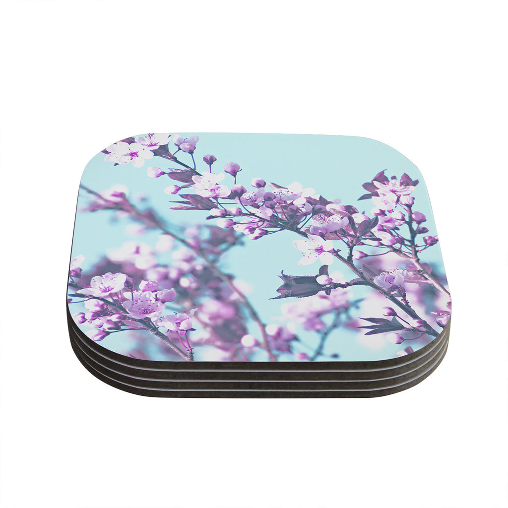 "Monika Strigel ""Cherry Phantasy"" Blue Pink Coasters (Set of 4)"