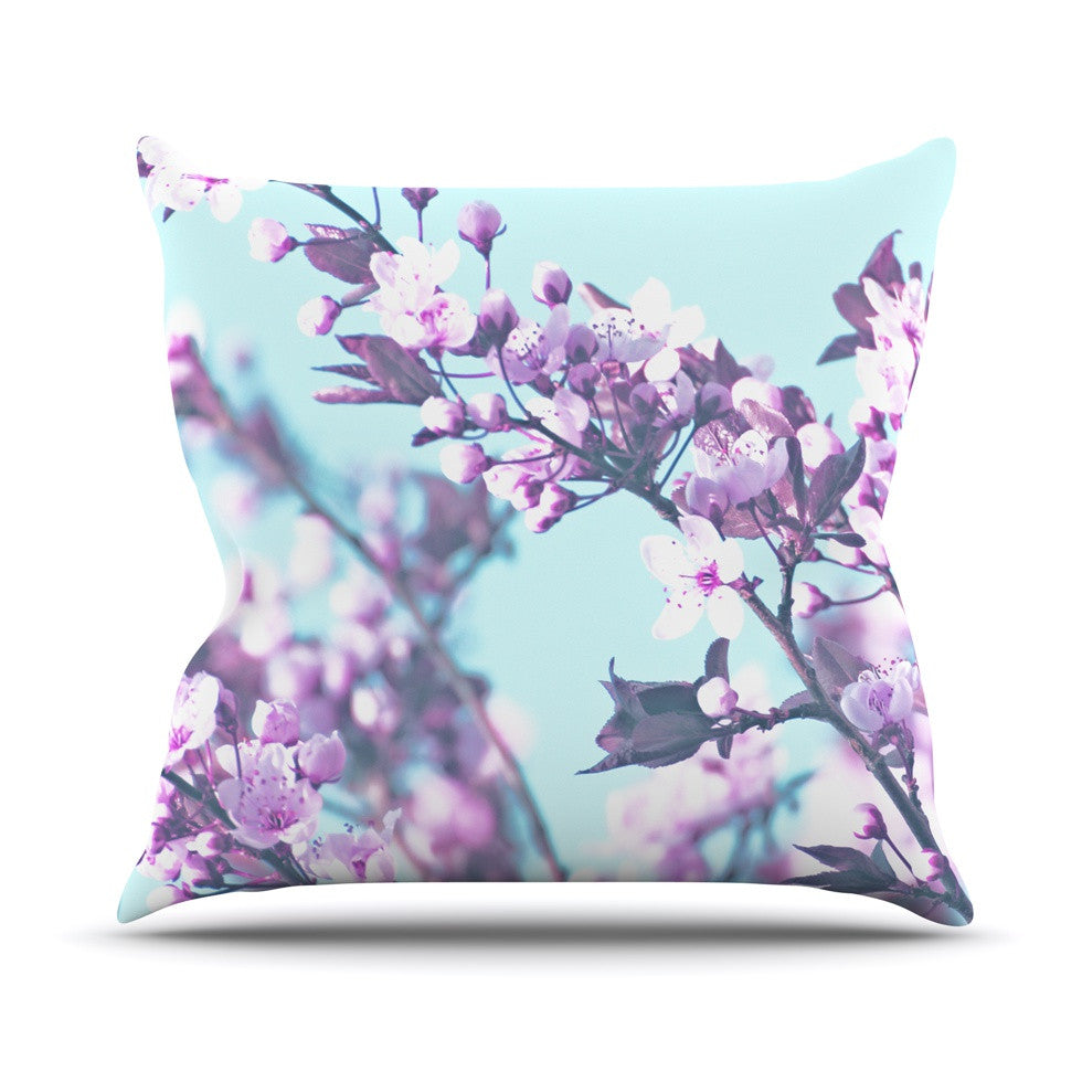 "Monika Strigel ""Cherry Phantasy"" Blue Pink Outdoor Throw Pillow - KESS InHouse  - 1"