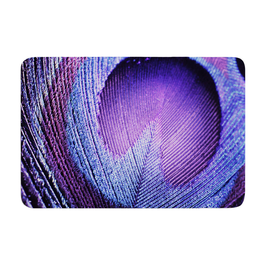 "Monika Strigel ""Purple Peacock"" Lavender Memory Foam Bath Mat - KESS InHouse"