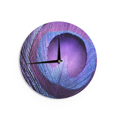"Monika Strigel ""Purple Peacock"" Lavender Wall Clock - Outlet Item"