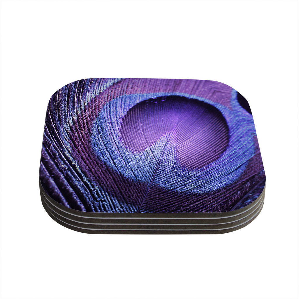 "Monika Strigel ""Purple Peacock"" Lavender Coasters (Set of 4)"