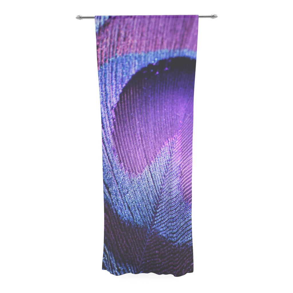 "Monika Strigel ""Purple Peacock"" Lavender Decorative Sheer Curtain - KESS InHouse  - 1"