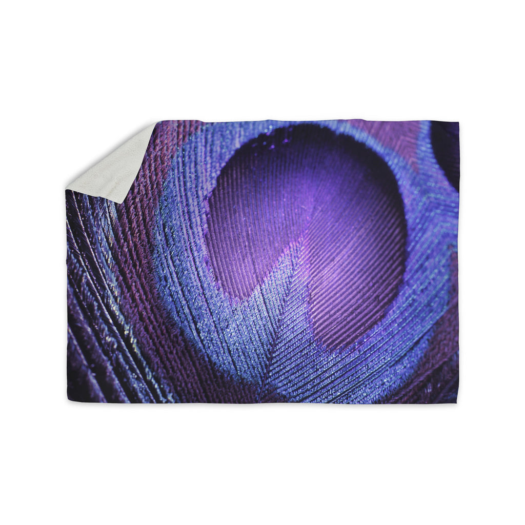 "Monika Strigel ""Purple Peacock"" Lavender Sherpa Blanket - KESS InHouse  - 1"