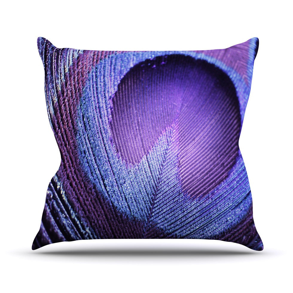 "Monika Strigel ""Purple Peacock"" Lavender Throw Pillow - KESS InHouse  - 1"
