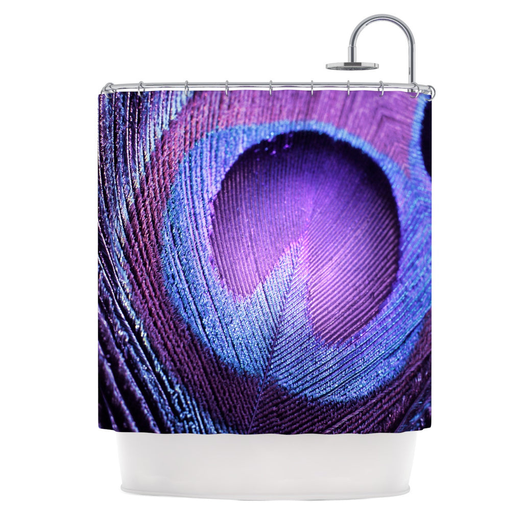 "Monika Strigel ""Purple Peacock"" Lavender Shower Curtain - KESS InHouse"