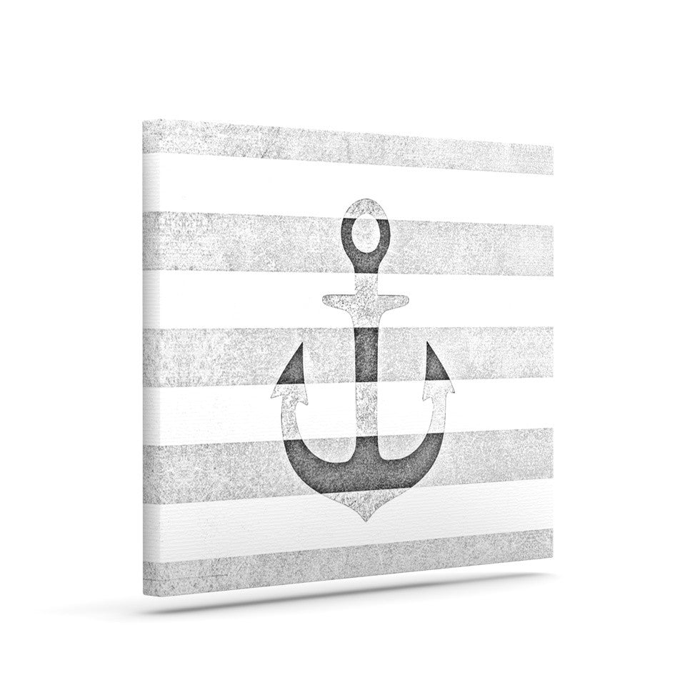 "Monika Strigel ""Stone Vintage Anchor Gray"" White Grey Canvas Art - KESS InHouse  - 1"