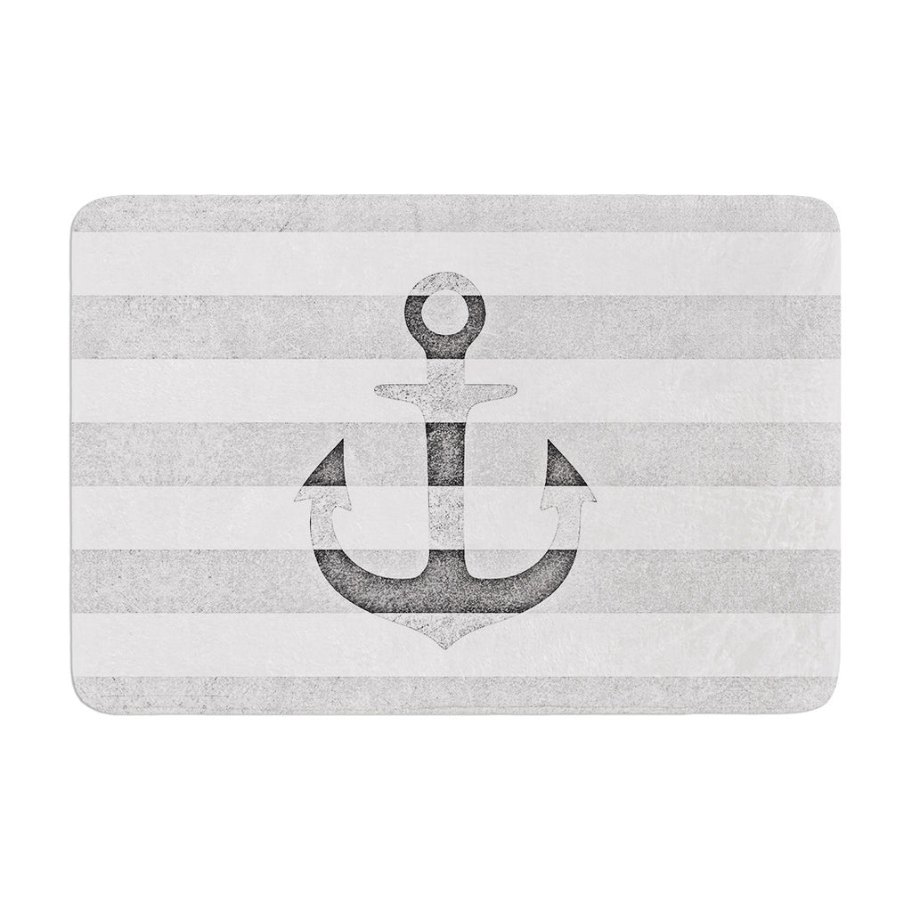 "Monika Strigel ""Stone Vintage Anchor Gray"" White Grey Memory Foam Bath Mat - KESS InHouse"