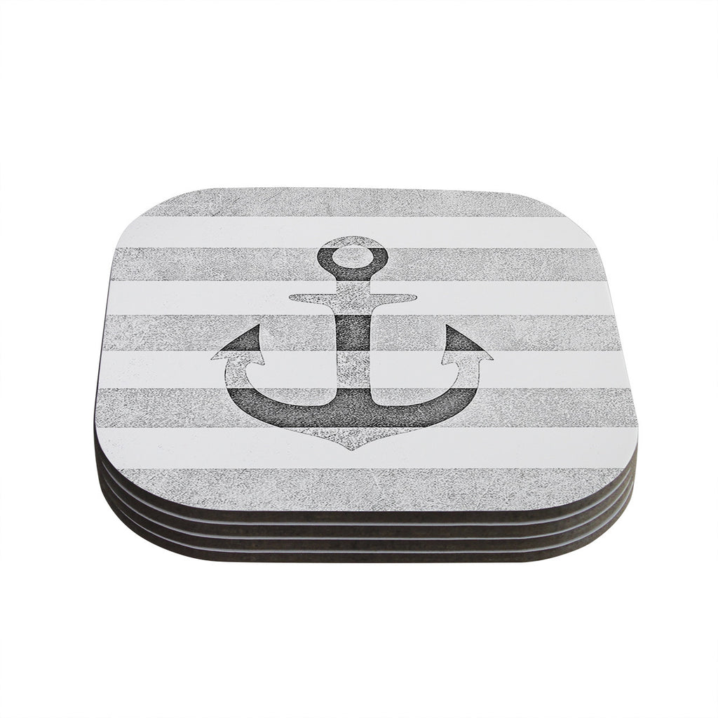 "Monika Strigel ""Stone Vintage Anchor Gray"" White Grey Coasters (Set of 4)"