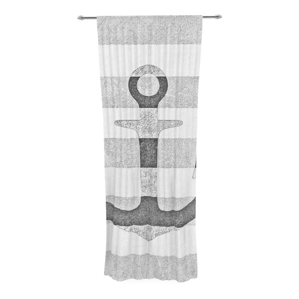 "Monika Strigel ""Stone Vintage Anchor Gray"" White Grey Decorative Sheer Curtain - KESS InHouse  - 1"